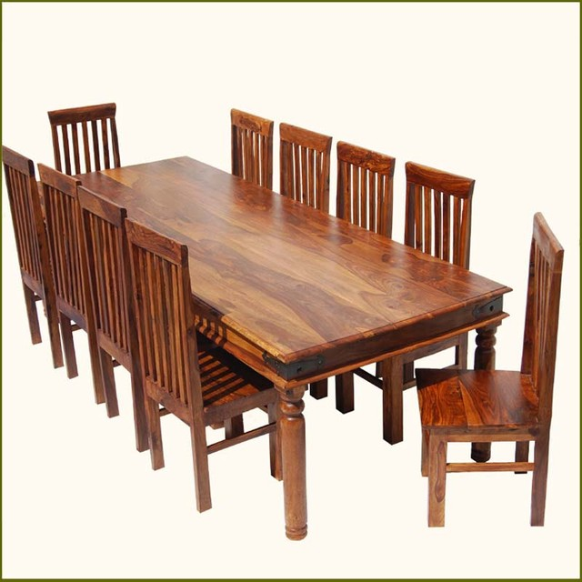 Rustic Solid Wood Large Square Dining Table Chair Set: Rustic Large Dining Room Table Chair Set For 10 People
