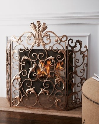 Acanthus Fireplace Screen Traditional Fireplace Accessories By Horchow