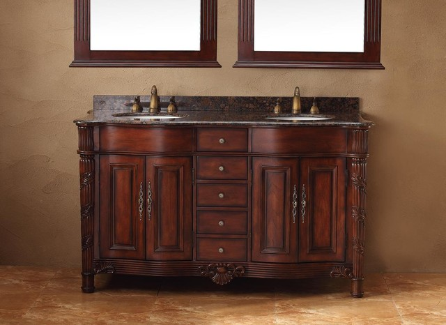 James Martin Traditions Tuscany 60 Double Granite Top Vanity In Cherry Victorian Bathroom