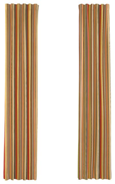 red orange modern stripe custom drapery single panel. Black Bedroom Furniture Sets. Home Design Ideas
