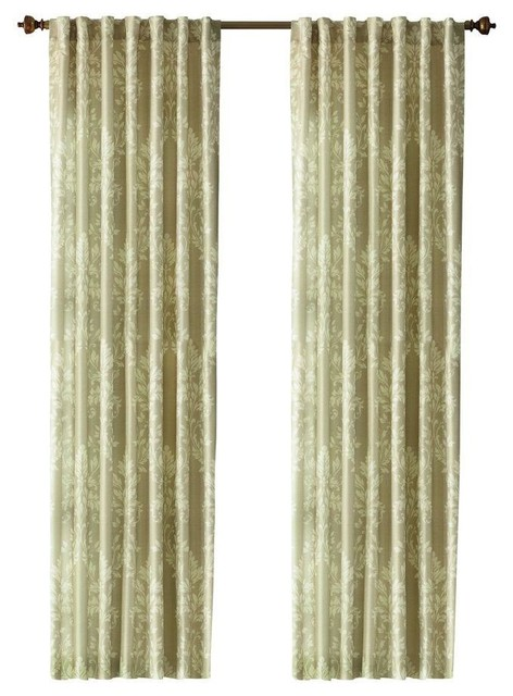 Home Decorators Collection Curtains Drapes Cream Tonal Damask Back Tab Contemporary Curtains