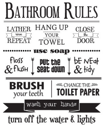Bathroom rules wall quotes decal modern wall decals for Rules of good bathroom design