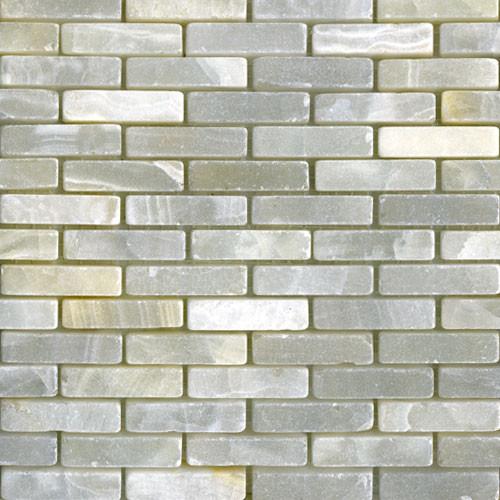 White onyx mini brick tumbled modern tile other for Tumbled glass tile