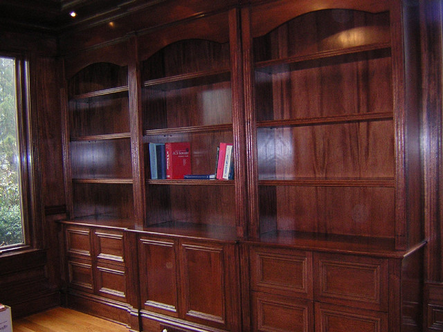 Mahogany Bookshelf and File Cabinet Unit for Home Library - Modern ...