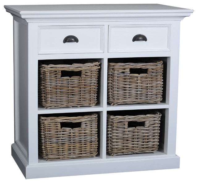 Danish Furniture Small Buffet With 2 Drawers and 4 Rattan Baskets - Buffets And Sideboards - by ...