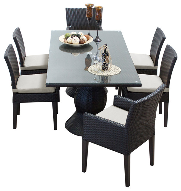 Contemporary Outdoor Dining Sets: Saturn Rectangular Outdoor Patio Dining Table With 6