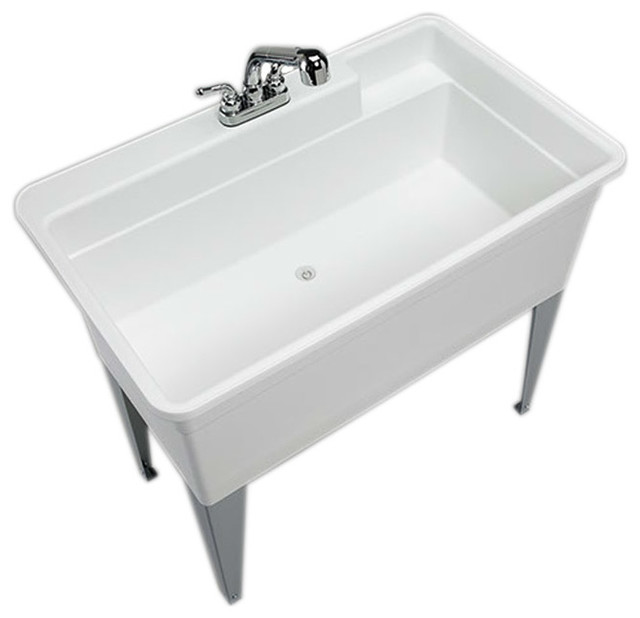 Mustee Big Tub Utilatub 24-in x 40-in Utility Tub Combo, White - Transitional - Utility Sinks ...