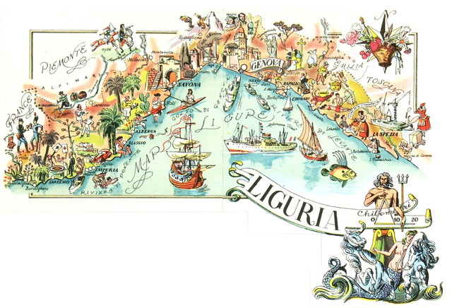 Consigned Vintage Map Of Liguria Italy C 1950