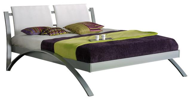 Nina 390 king size bed w wooden slat frame white modern for Divan king size bed frame