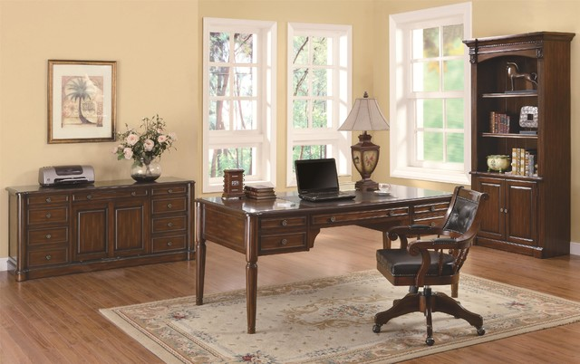 Coaster 3 pieces peterson walnut office desk set home office furniture los angeles by - Home office furniture los angeles ...