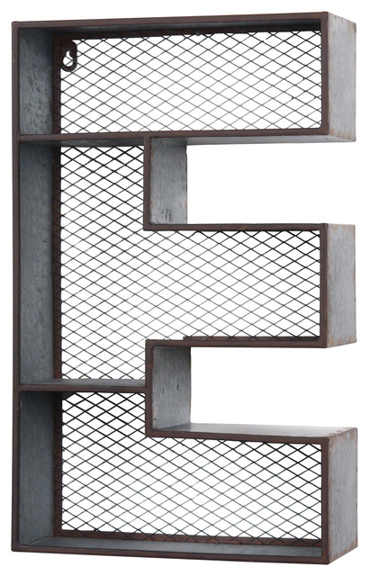 galvanized tin letter wall shelf e industrial wall. Black Bedroom Furniture Sets. Home Design Ideas