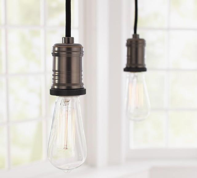 Pendant Lighting On Track: Exposed Bulb Pendant Track Lighting