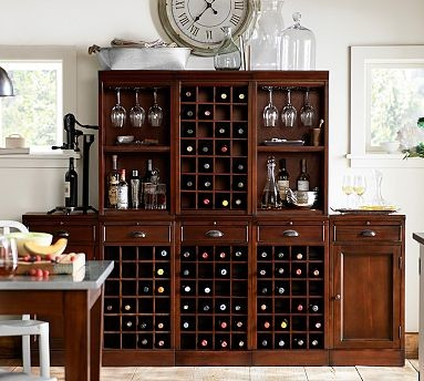Modular Bar Cabinet 3 Wine Grid 2 Cabinet Bases 2 Open 1 Wine Grid Hutch Traditional