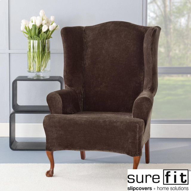 Colby Accent Chair Modern Contemporary Dusk Living Room: Sure Fit Stretch Plush Chocolate Wing Chair Slipcover