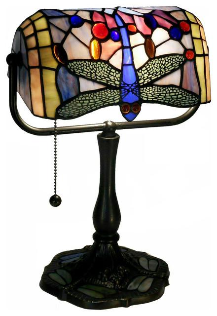 dragonfly banker s desk lamp bronze traditional desk. Black Bedroom Furniture Sets. Home Design Ideas