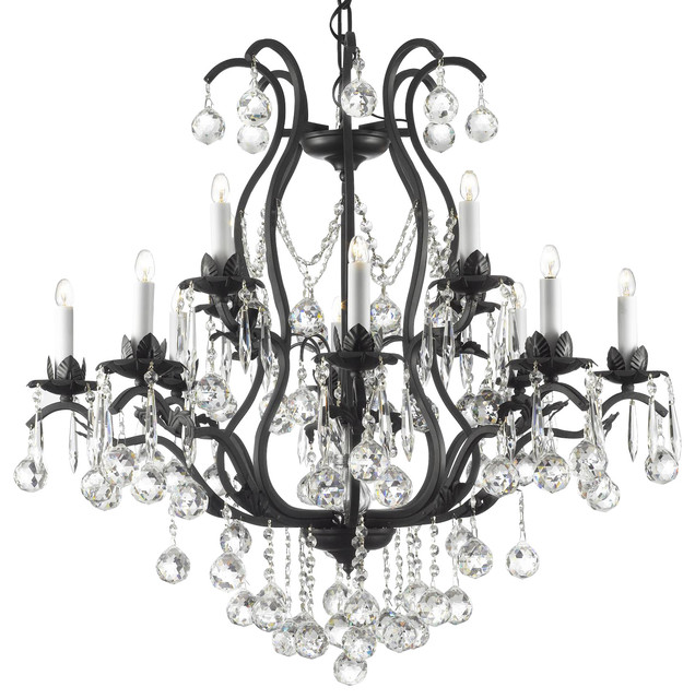 Swarovski crystal trimmed wrought iron crystal chandelier traditional chandeliers by gallery - Traditional crystal chandeliers ...