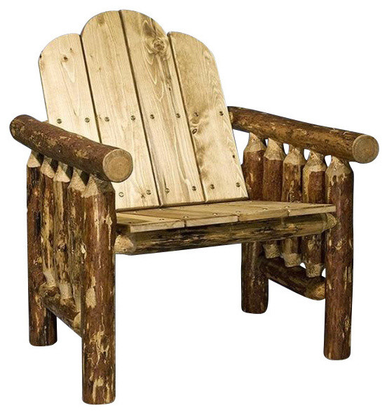 Montana Woodworks Mwgcdc Glacier Country Log Deck Chair Rustic Outdoor Lo