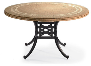 Carlisle Round Mosaic Stone Top Outdoor Dining Table In Gray Finish Patio Fu