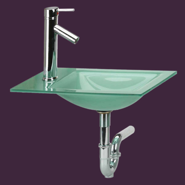 Counter sinks green frosted glass square sink faucet p for Bathroom p trap size