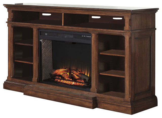 gaylon extra large tv stand with fireplace burnished brown entertainment centers and tv. Black Bedroom Furniture Sets. Home Design Ideas