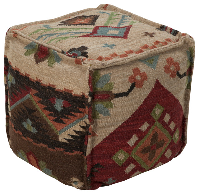 Square Pouf, Rust - Southwestern - Floor Pillows And Poufs - by Hollywood Decor