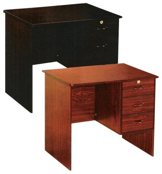 Espresso Finish Wood Office Work Desk With Drawers