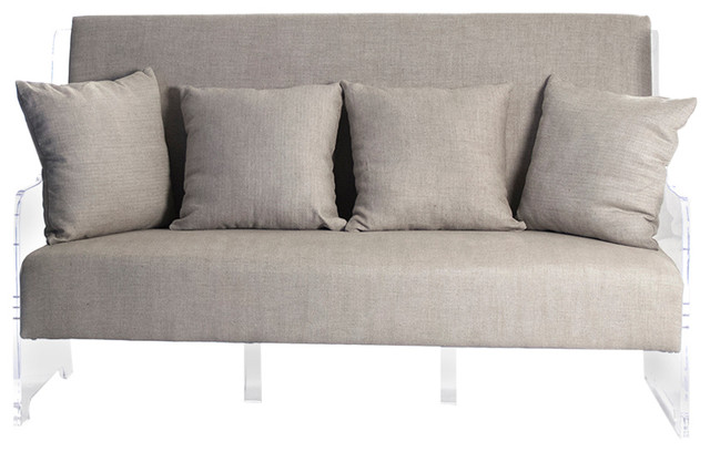 Modern Country Pillows : Marcy French Country Modern Light Gray Fabric Acrylic Sofa With Pillows - Contemporary - Sofas ...