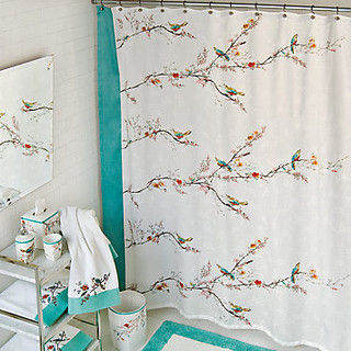 Simply Fine Lenox Chirp Shower Curtain Contemporary Shower Curtains By Lenox