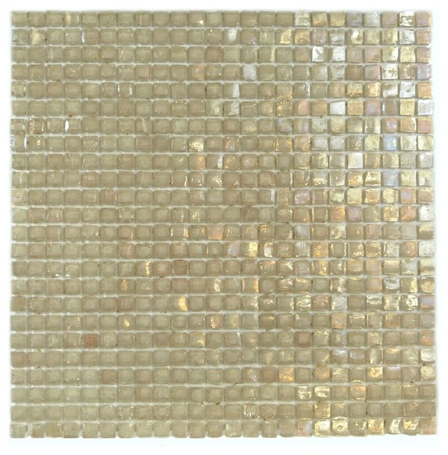 Recycled Glass Mosaic Tile Kitchen Bathroom Wall Backsplash Peach 3 8 X3 8 Tan Contemporary
