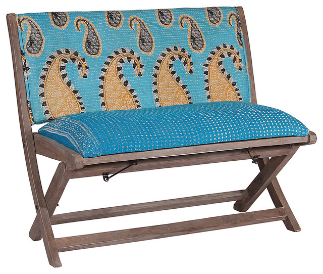 Blue Tan Paisley One Of A Kind Kantha Bench Modern Upholstered Benches
