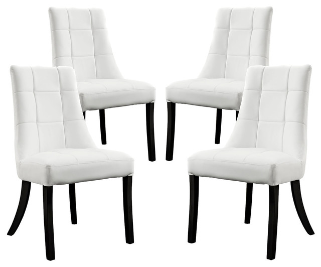 Noblesse vinyl dining chair set of 4 in white dining for White plastic dining chair