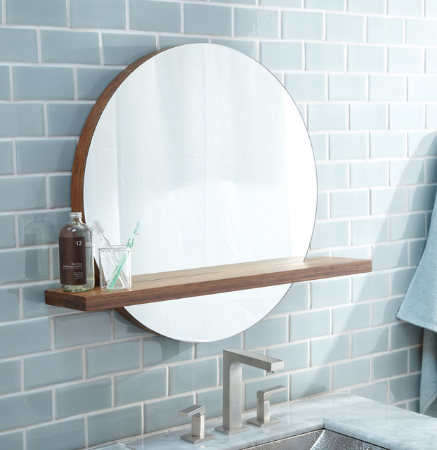 Native trails 22 solace mirror shelf in woven strand - Modern mirrors for bathroom ...