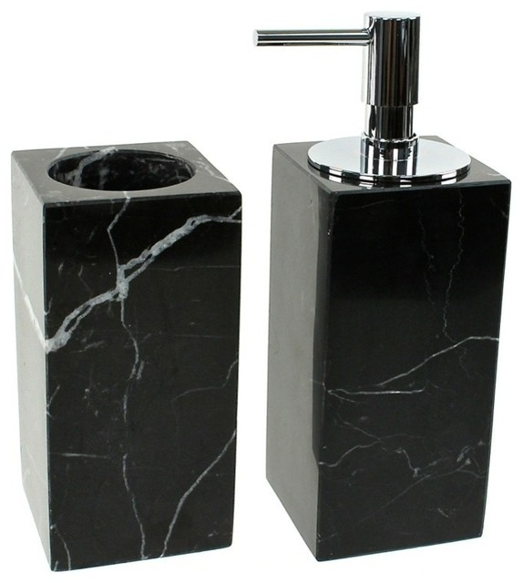 Black 2 piece marble bathroom accessory set contemporary for Black bath accessories sets