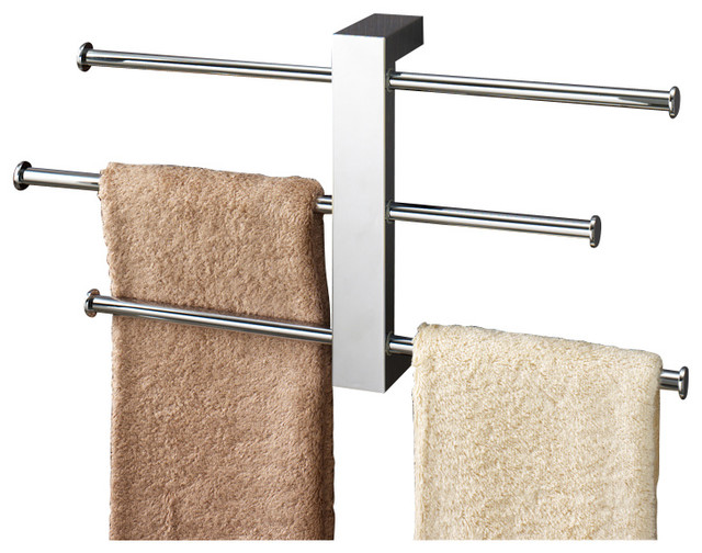 Polished Chrome Wall Mounted Towel Rack With Three 16 Inch Sliding Rails - Contemporary - Towel ...