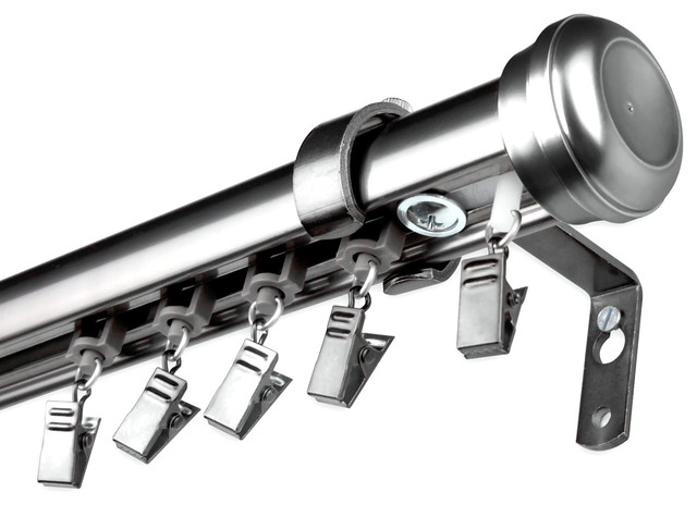 Rod Desyne Home Decorative Rosen Cordless Traverse Rod Pewter Transitional Curtain Rods By