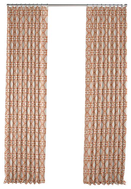 Modern Orange Trellis Pleated Curtain Single Panel