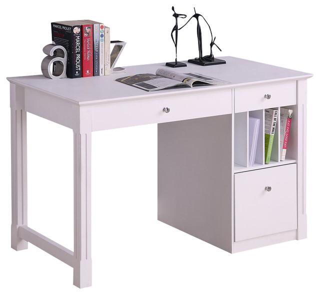 Walker Edison Deluxe Solid Wood Desk In White Modern