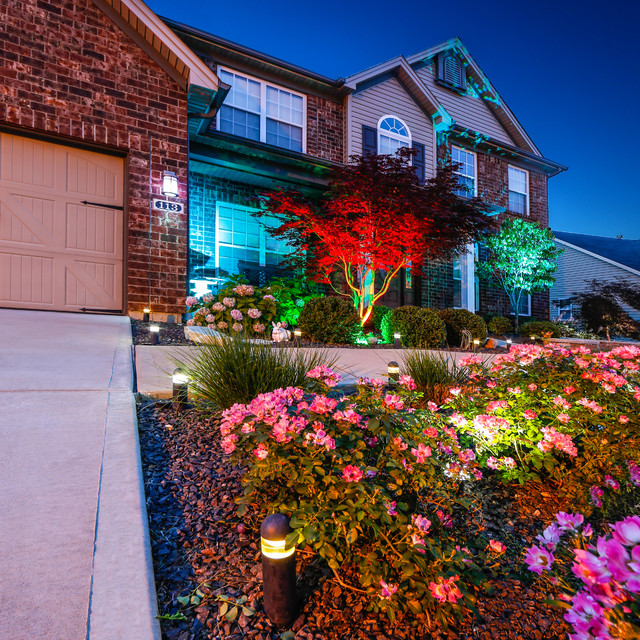 LED Home Exterior Path And Accent Lighting Traditional Landscape St Lou