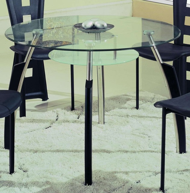 Global Furniture A08 Dining Table Chrome With Black Wood 15139DT Cont