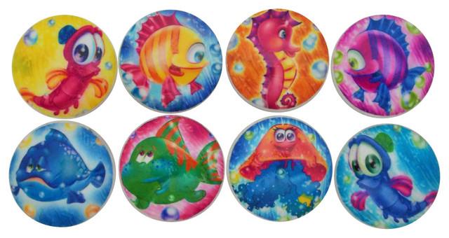 Set of 8 Cartoon Sea Life Cabinet Knobs - Beach Style ...