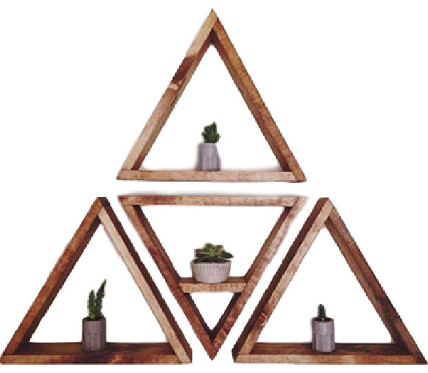 4 Piece Triangle Shelf Set Light Tan Contemporary