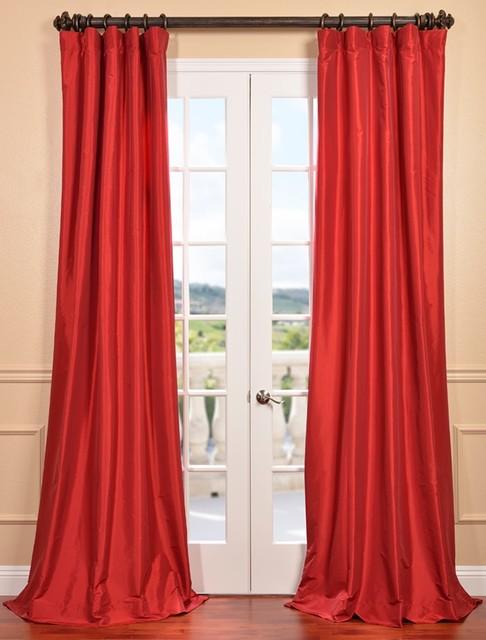 Hollywood Red Faux Silk Taffeta Curtain Contemporary Curtains San Francisco By Half