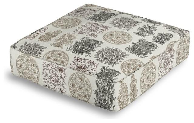 Floor Box Pillows : Paisley Block Print Box Floor Pillow - Mediterranean - Floor Pillows & Pouffes - by Loom Decor