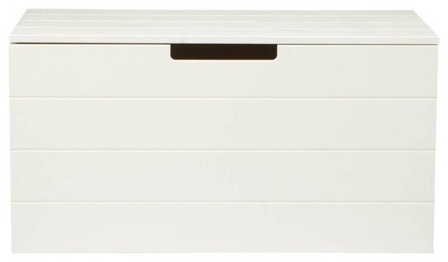 Coffre jouets bois aart couleur blanc bord de mer - Banc coffre de rangement blanc ...
