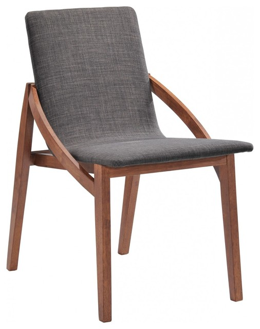 Modrest Jett Modern Espresso Fabric Dining Chair Set Of 2 Scandinavian D