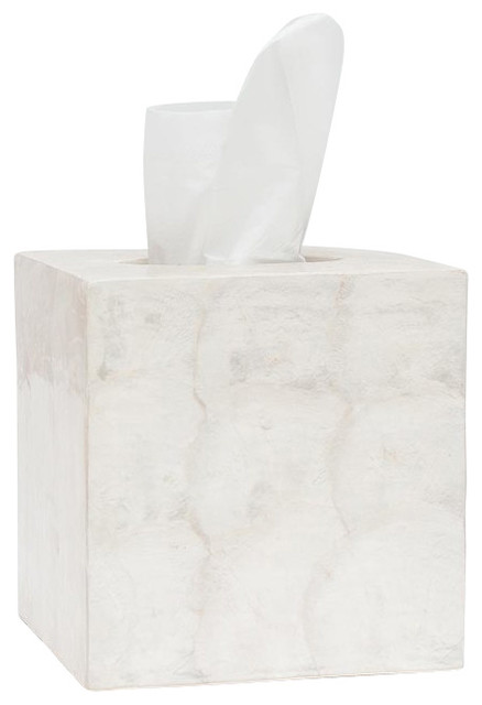 Andria pearlized capiz shell tissue box beach style - Capiz shell bathroom accessories ...