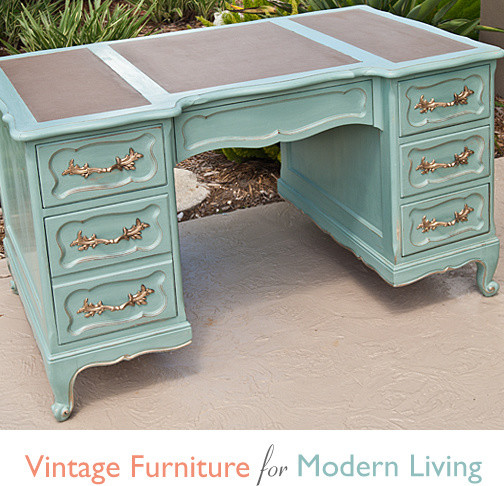 Vintage french provincial shabby chic desk desks and for Chic home office furniture