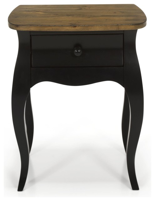 evelyn chevet romantique noir 1 tiroir classique table de chevet et table de nuit par. Black Bedroom Furniture Sets. Home Design Ideas