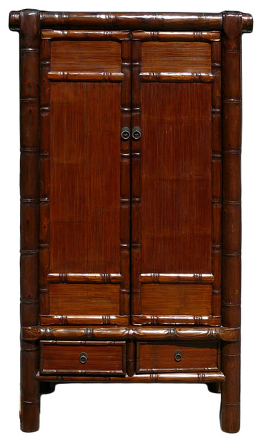 Chinese Solid Wood Carved Bamboo Simulated Cabinet Armoire ...