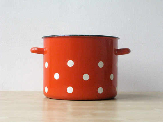 red and white polka dot pot by circle the square